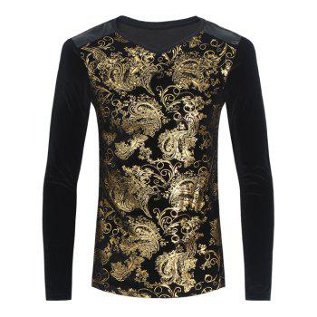 V Neck Ornate Foil Printed Pleuche T-Shirt