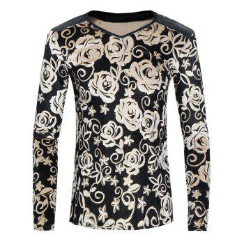 V Neck Flower Printed Pleuche T-Shirt