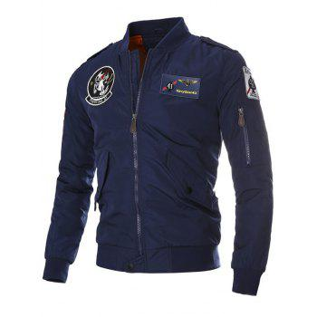 Zip Up Patch Epaulet Quilted Jacket