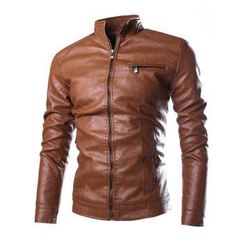 Stand Collar Zippered Faux Leather Jacket