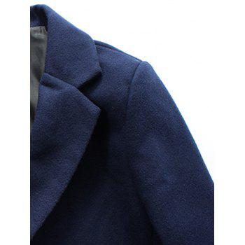 Retour Vent Coat Notch Lapel Patch Pocket Woolen - Noir 5XL