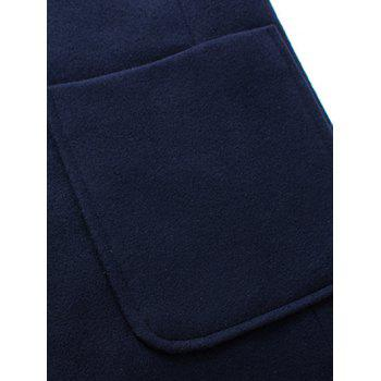 Retour Vent Coat Notch Lapel Patch Pocket Woolen - Noir 2XL