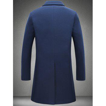 Retour Vent Coat Notch Lapel Patch Pocket Woolen - Bleu Cadette 5XL