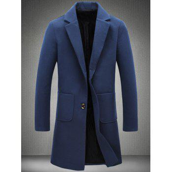 Back Vent Notch Lapel Patch Pocket Woolen Coat