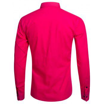 Piquez à manches longues Button Up Shirt - Rose Rouge M