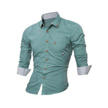 Long Sleeve Embroidered Button Down Shirt