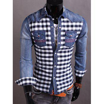 Plaid Insert Snap Button Up Denim Shirt