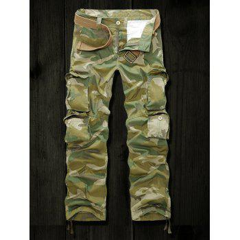 Multi Pockets Drawstring Cuff Camo Cargo Pants