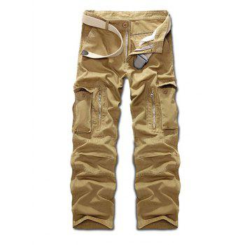 Buy Zippered Multi Pockets Cargo Pants KHAKI
