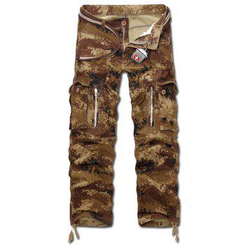 Zippered Camo Multi Pockets Cargo Pants