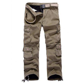 Drawstring Cuff Multi Pockets Flocking Cargo Pants