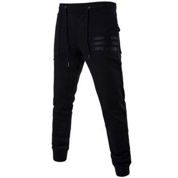 Mid Rise Patch Pocket Drawstring Jogger Pants