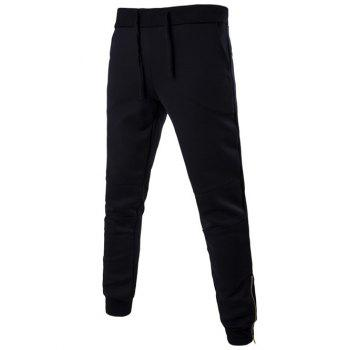 Drawstring Zip Cuff Pocket Back Jogger Pants