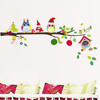 Removable Merry Christmas Colorful Owl Kids Room Wall Stickers