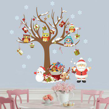 2PCS Christmas Tree Santa Claus Removable Wall Stickers