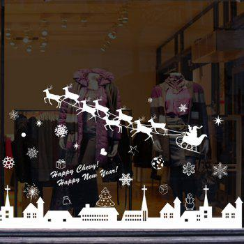 Amovible Cerf de Noël Vitrine Window Stickers muraux - Blanc