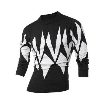 Buy Crew Neck Ribbed Geometric Pattern Sweater BLACK