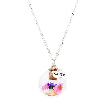 Glass Cover Floral Pandant Necklace