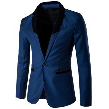 Velvet Spliced Lapel One Button Blazer