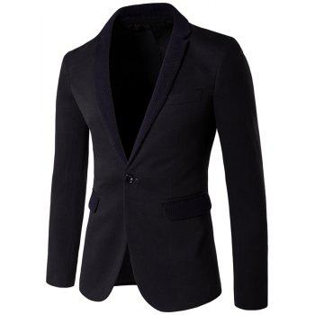 One-Button Knitting Lapel Blazer