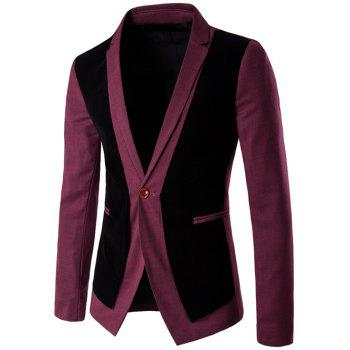 One Button Velvet Splicing Design Blazer