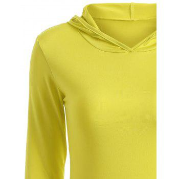 Hooded Long Sleeve Bodycon T Shirt Dress Yellow S In
