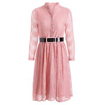 Belted Pleated Lace Shirt Dress