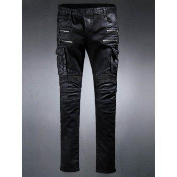 Buy Rib Splicing Design Zippers Embellished Pockets Jeans BLACK