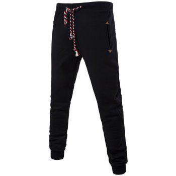 Buy Plus Size Colorful String Lace-Up Beam Feet Jogger Pants BLACK