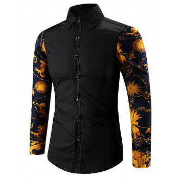 Buy 3D Abstract Floral Print Spliced Turn-Down Collar Shirt BLACK