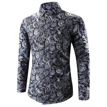 3D Paisley Print Turn-Down Collar Shirt