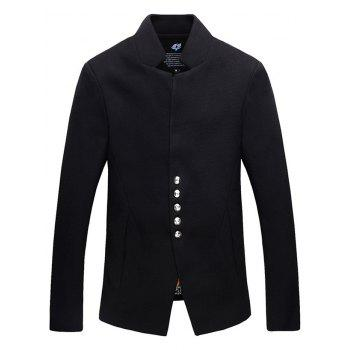 Single-Breasted Stand Collar Woolen Jacket
