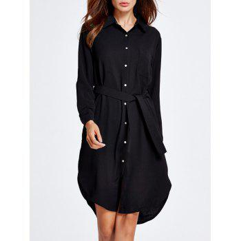 Long Sleeve Belted Formal Shirt Dress