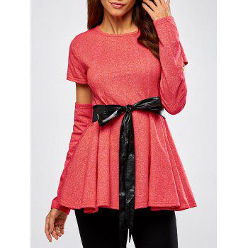 Detachable Sleeve Belted Skirted Top