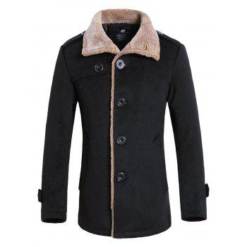 Faux Fur Turndown Collar Single Breasted Jacket