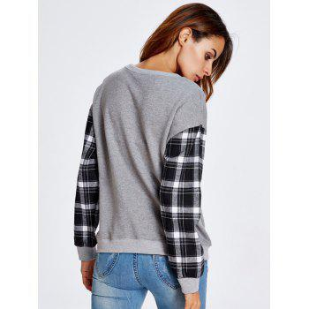 Automne Round Badge Plaid Sleeve Sweatshirt - gris S
