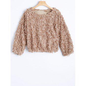 Novelty Faux Fur Mohair Crop Sweater