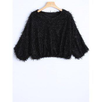 Novelty Faux Mohair Strip Crop Sweater