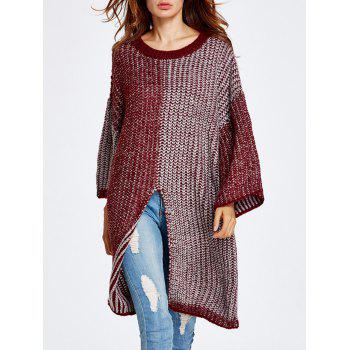 Buy Streetwear Color Block High Slit Sweater WINE RED