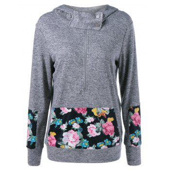 Floral Kangaroo Pocket Heather Hoodie
