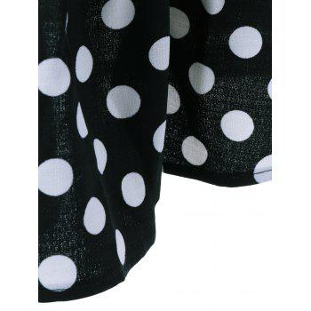 Polka Dot Patchwork Flounced T-Shirt - BLACK XL