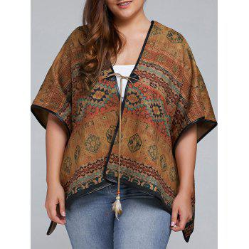Buy Plus Size Batwing Sleeve Tribal Print Coat COLORMIX