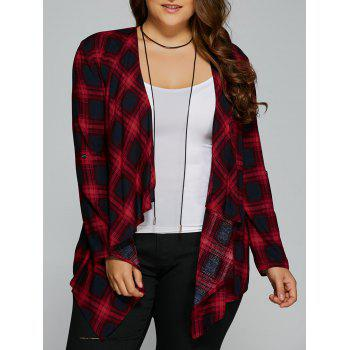Plus Size Asymmetrical Plaid Cardigan