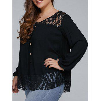 Buy Plus Size Lace Trim Single Breasted Blouse BLACK