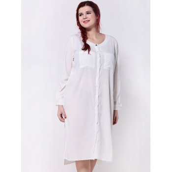 Furcal Asymmetric Plus Size Chiffon Shirt Dress
