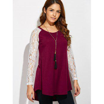 Lace Sleeve High Low Hem T-Shirt - RED/WHITE L