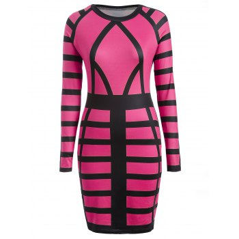 Color Block Long Sleeve Bodycon Sheath Dress