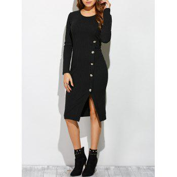 Side Slit Button Up Long Sleeve Knit Dress