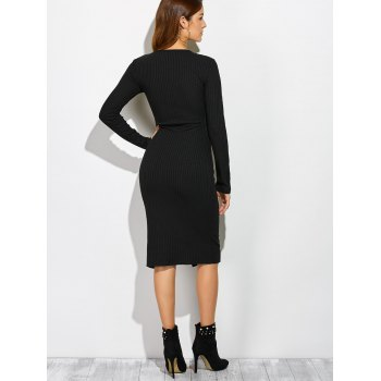Side Slit Button Up Long Sleeve Knit Dress - BLACK M