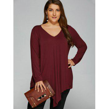 Plus Size Long Sleeve Asymmetrical T-Shirt - WINE RED WINE RED